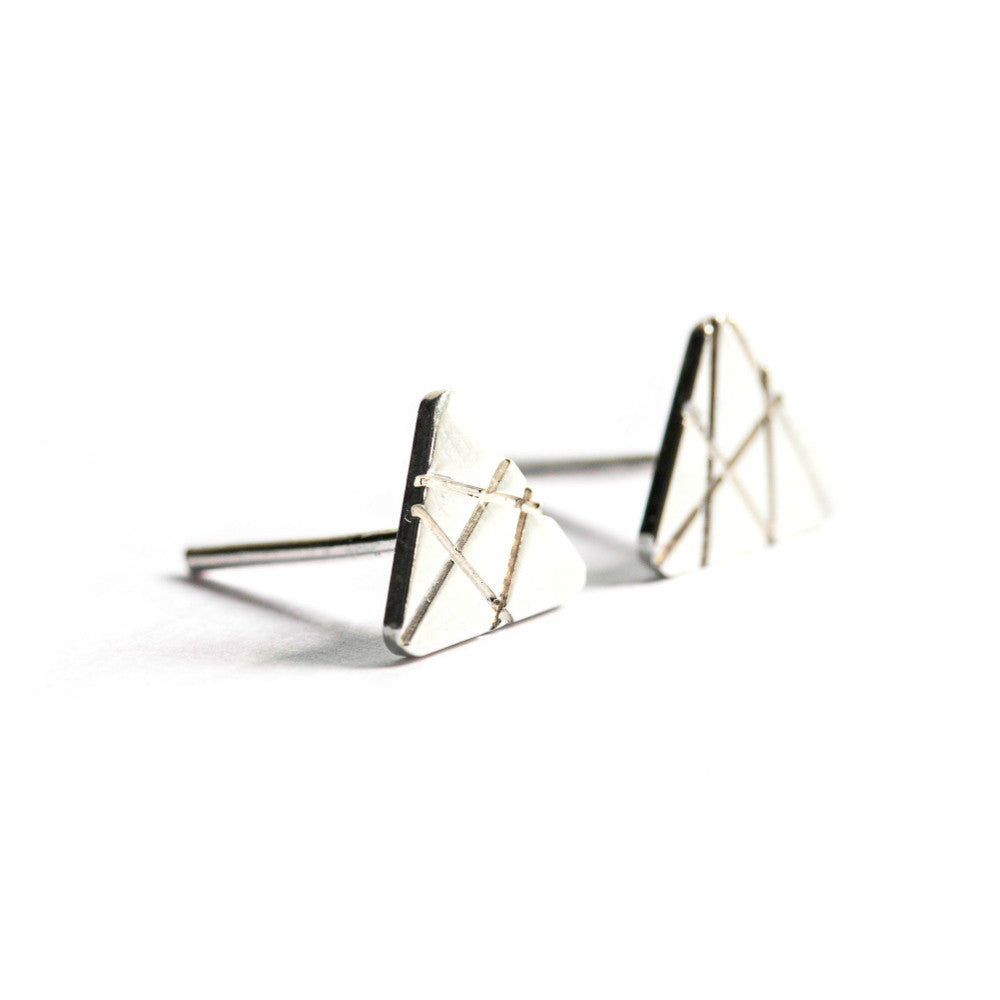 Silver Triangular-Shaped Textured Studs