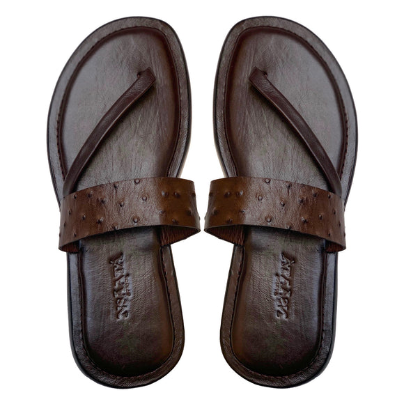 UDOCHI dark brown embossed ostrich slippers-Slippers-NSAATA