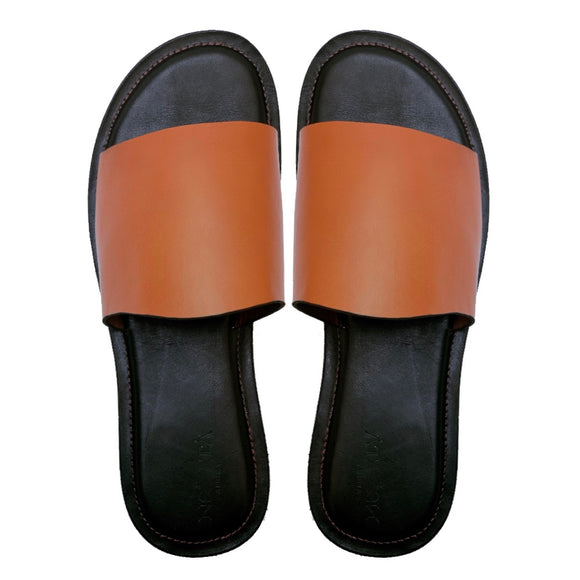 DARE plain brown slippers with dark brown insole-Slippers-NSAATA