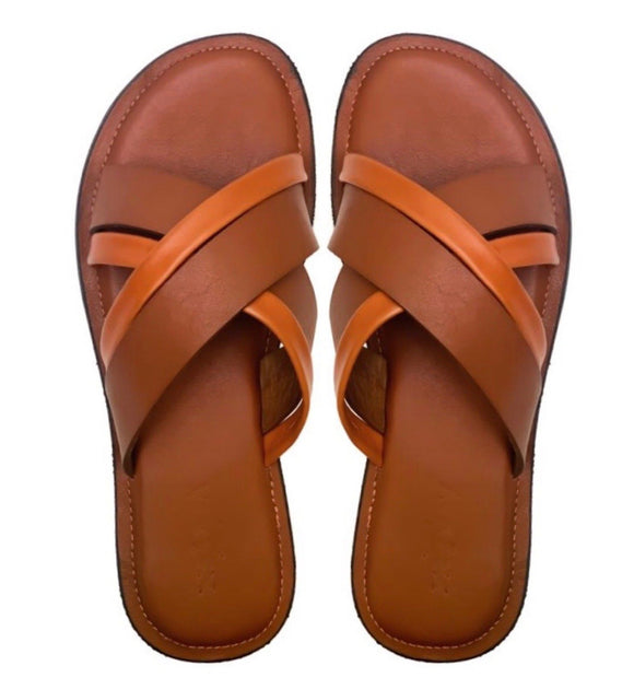 ORE brown two-tone slippers-Slippers-NSAATA