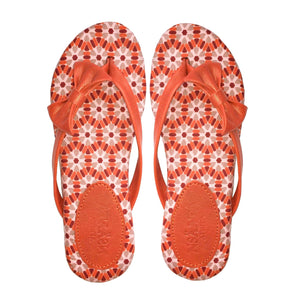 UTO slippers in orange African print textile (Ankara)-Slippers-NSAATA