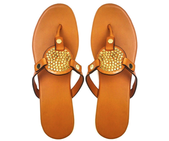 NNEOMA gold studded brown leather slippers-Slippers-NSAATA