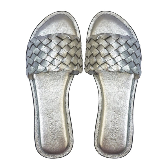 DARA slippers with handwoven leather upper in silver-Slippers-NSAATA