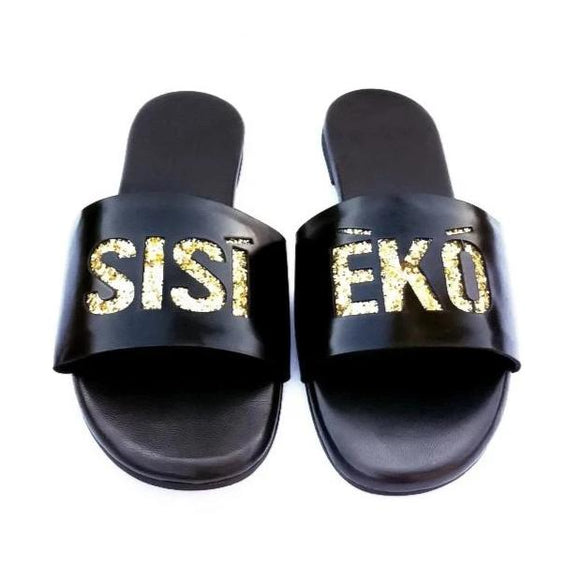 SISI EKO black slippers with glittery gold insert-Slippers-NSAATA