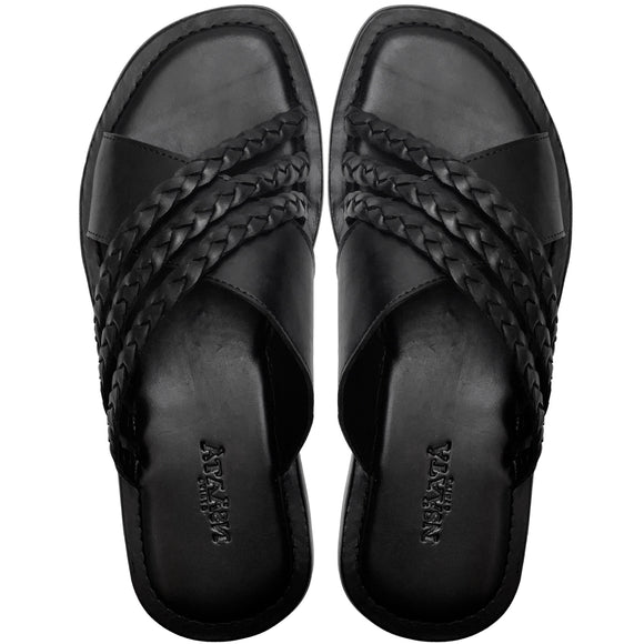 RAFIKI black crisscross slippers with three handbraided leather straps-Slippers-NSAATA
