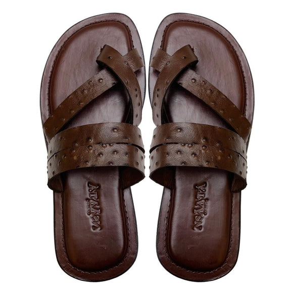 UCHE dark brown embossed ostrich slippers-Slippers-NSAATA