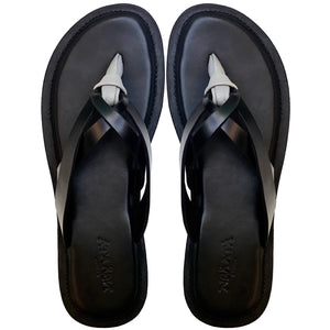 WALE black and grey slippers-Slippers-NSAATA