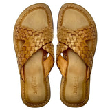 UGONNA handwoven tan criss-cross slippers-Slippers-NSAATA