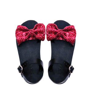 DEMI wine red glitter sandals with bow-Sandals-NSAATA