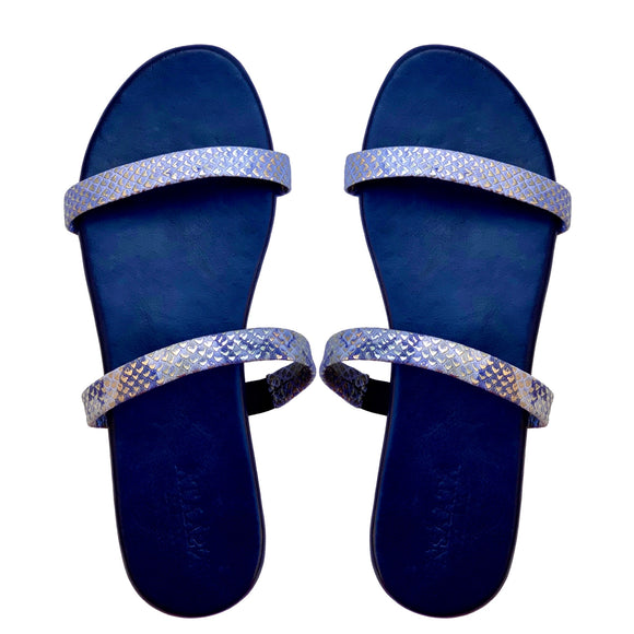 ITORO slippers in blue and silver embossed snakeskin leather-Slippers-NSAATA