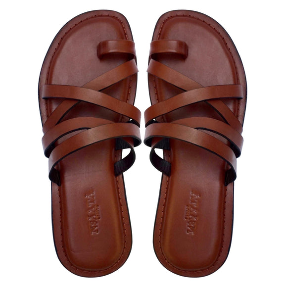 KENE brown slippers-Slippers-NSAATA