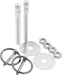 "Aluminum Hood Pin Kit With 3/8"" Pins And 3/16"" Clips, Silver"