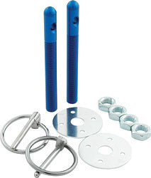 "Aluminum Hood Pin Kit With 3/8"" Pins And 3/16"" Clips, Blue"