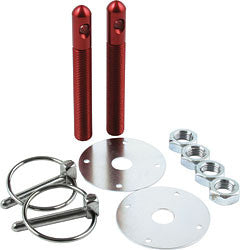 "Aluminum Hood Pin Kit With 1/2"" Pins And 1/4"" Clips, Red"