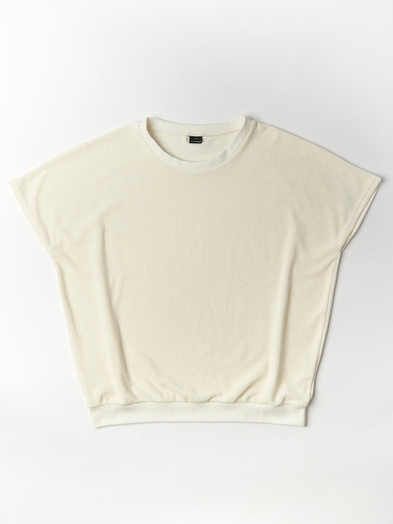 shortsleeve terry sweater woman creme