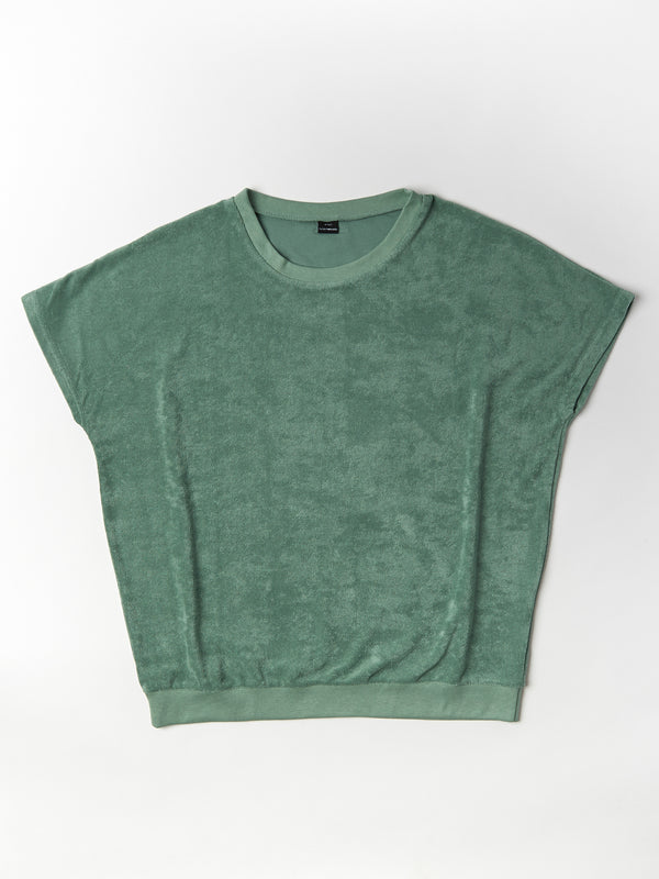 shortsleeve terry sweater woman sage