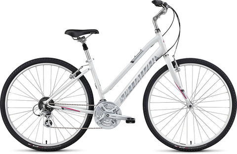 Specialized Crossroads Sport Step Through comfort/hybrid women's bike gloss white/silver/bright pink