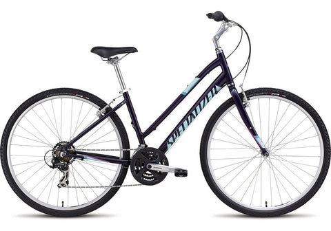 Specialized Crossroads Step Through comfort/hybrid women's bike gloss indigo/turquoise/bright pink