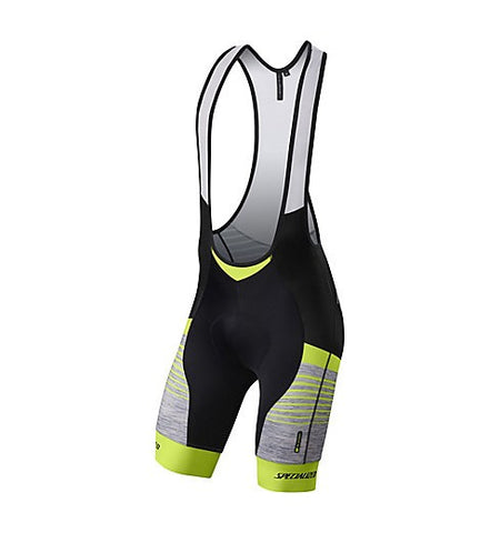 Specialized mens SL Expert Bib Shorts light gray heather/neon yellow
