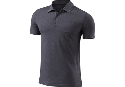 Specialized mens utility merino polo carbon heather