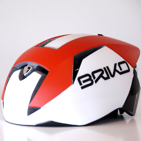 Briko Gass Bike Helmet, Matte Red / White / Black