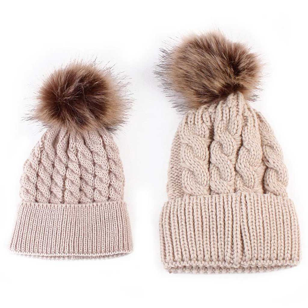 ceed9183d70 Mom and Baby Matching Knitted Pom Pom Beanies - Shoplifo.com