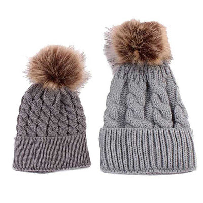 c55e4ff0a Mom and Baby Matching Knitted Pom Pom Beanies
