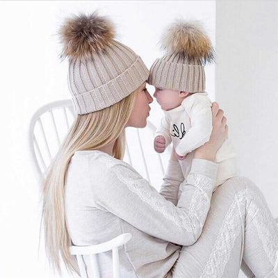Mom and Baby Matching Knitted Pom Pom Beanies - Shoplifo.com b46d34ed5a3