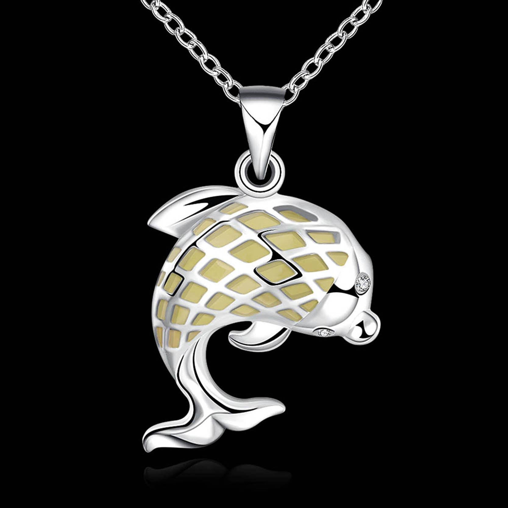 dolphin pendant products platinum necklace plated wikiwii gold