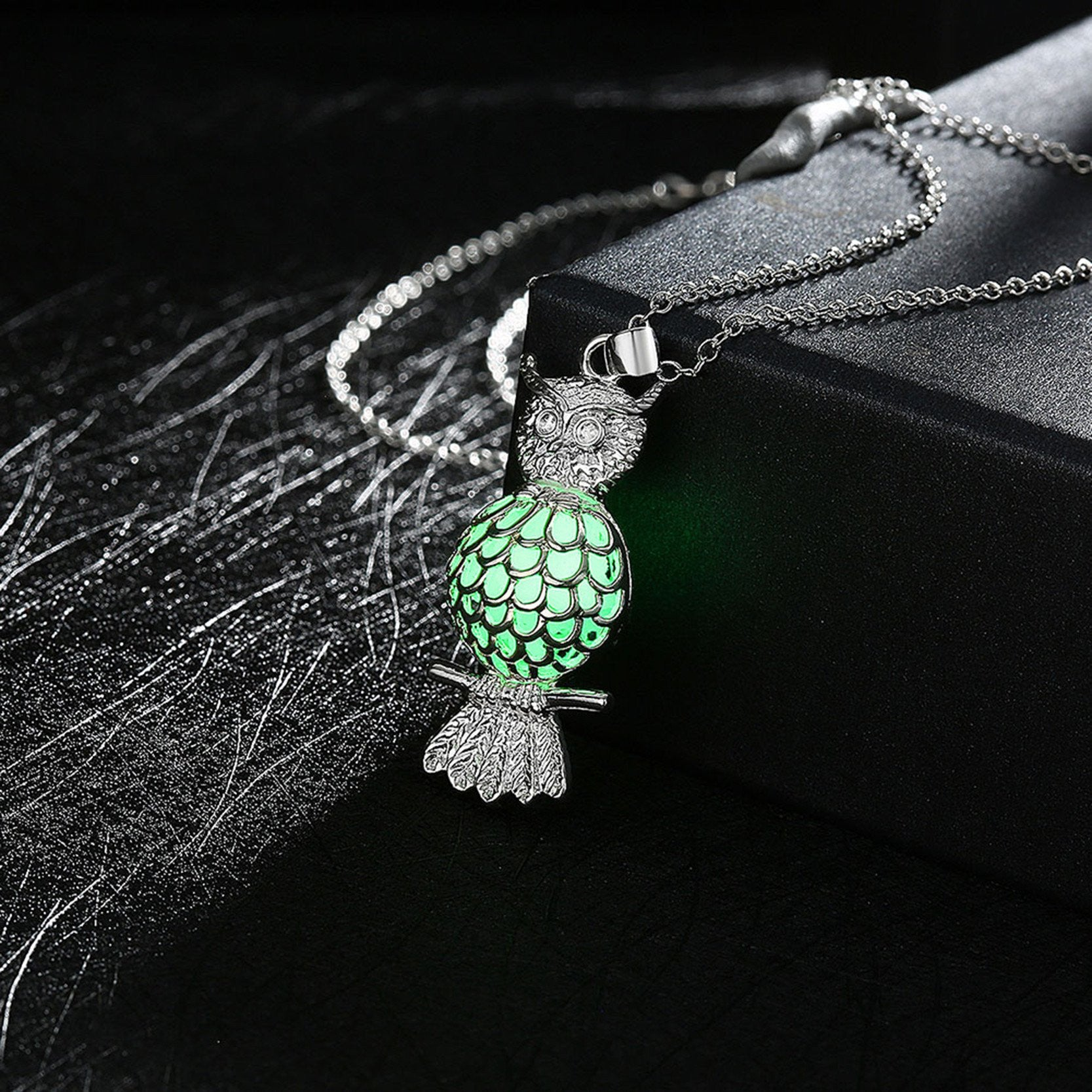 stone necklaces from gift water charm rinhoo necklace women for dark glow item pendant the romantic drop jewelry glowing pendants in frozen