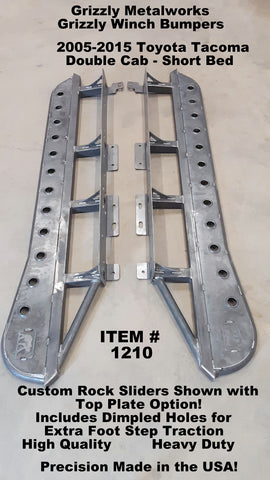 2005 2015 Toyota Tacoma Rock Sliders with kick out and top plate