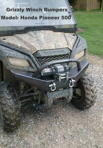 Honda Pioneer 500 Winch Plate Bumper Brush Guard Grizzly metalworks