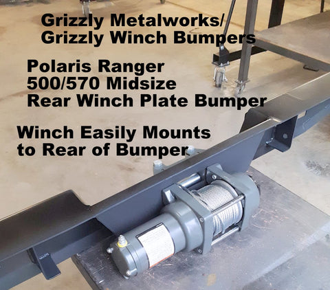 "Polaris Ranger 500/570 Midsize Rear Winch Plate Bumper (Grizzly's Truck Style Bumper W/ Light Cut Outs & ""D"" Ring Mounts!)"
