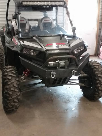 Polaris RZR XP 1000 Custom Front Winch Plate Bumper Brush Guard with Skid Plate $350