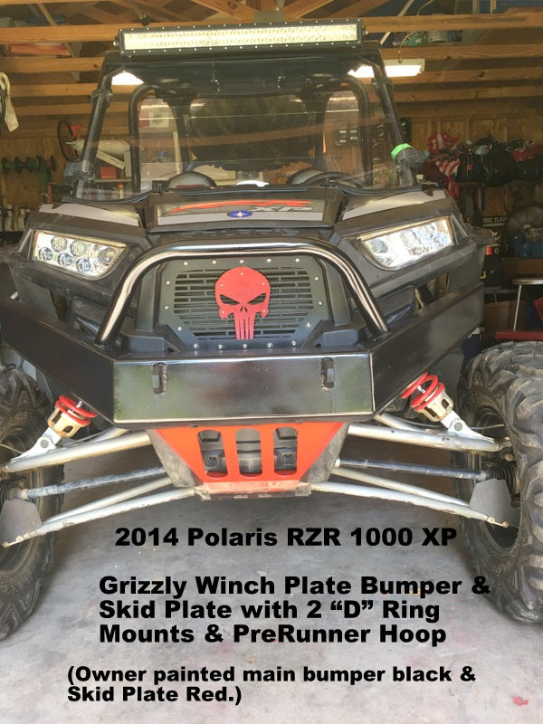 Polaris RZR XP 1000 Custom Front Winch Plate Bumper Brush Guard with Skid  Plate $295