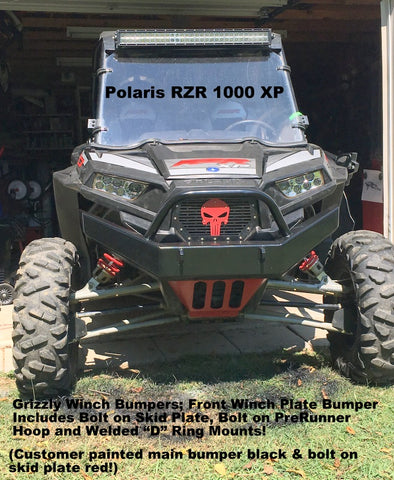 Polaris RZR XP 1000 Front Winch Plate Bumper Brush Guard with Skid Plate