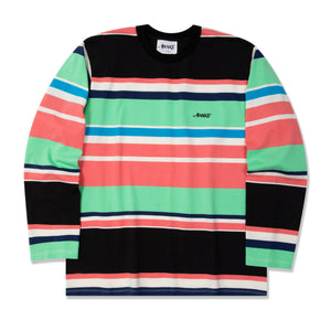 Embroidered Logo L/S Engineered Stripe Tee