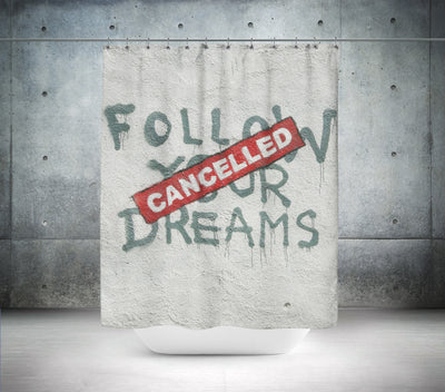 "Banksy ""Cancelled"" Shower Curtain"