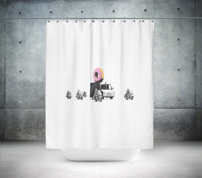 Banksy Donut Truck Shower Curtain