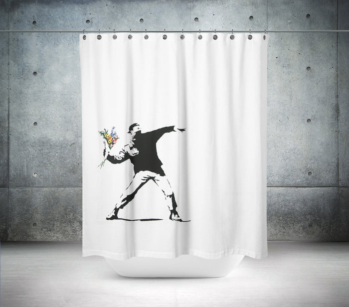 Banksy Flower Chucker in Berlin Shower Curtain