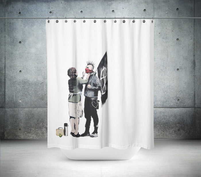 Anarchist and Mother by Banksy Shower Curtain