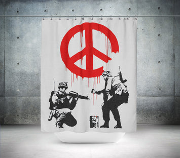 Soldiers Painting Peace by Banksy Shower Curtain