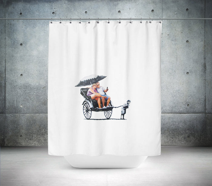 Rickshaw Kid by Banksy Shower Curtain