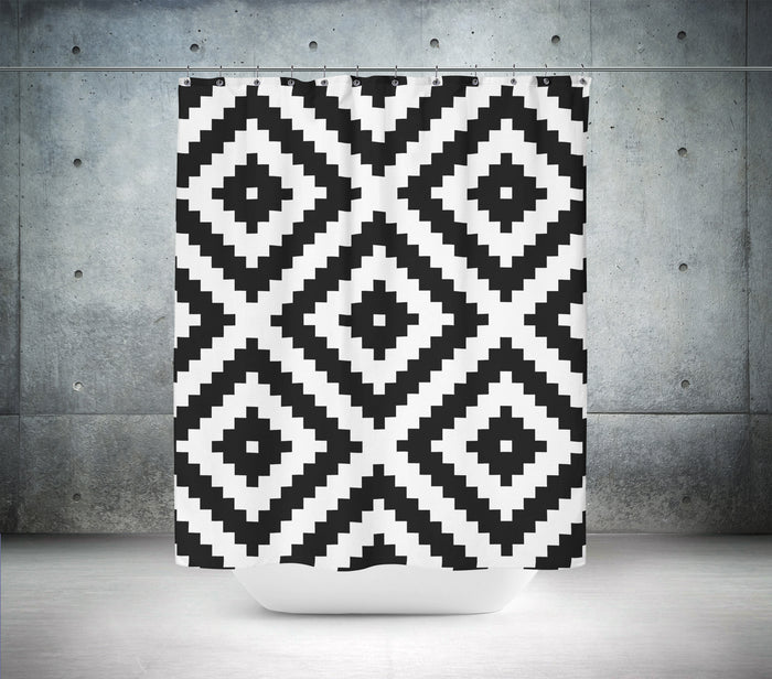 Black & White Pixelated Shower Curtain