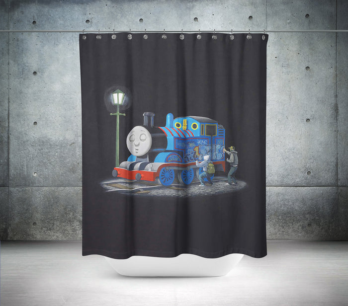 Thomas The Tank Engine By Banksy Shower Curtain