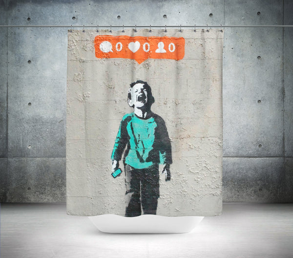 Banksy - Social media boy - Nobody likes me Shower Curtain