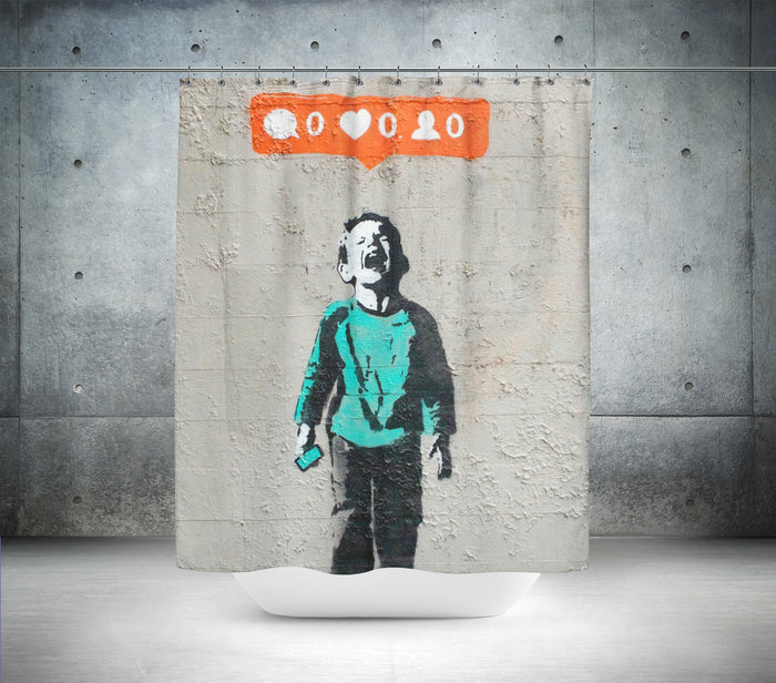 Banksy - Social media boy - Nobody likes me Shower Curtain – Shower Ink