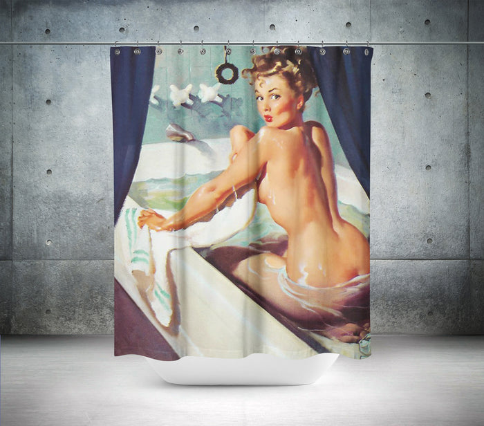 Vintage Lady In Bath Shower Curtain