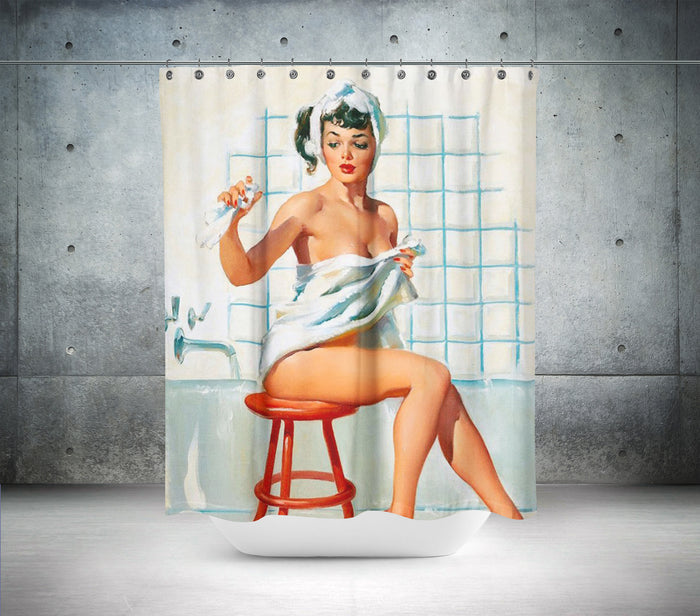 Vintage Retro Lady On Stool Shower Curtain
