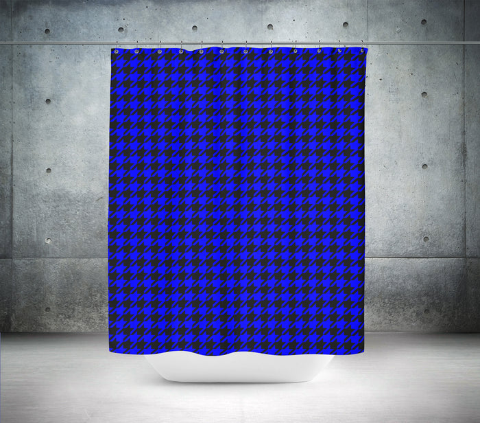 Blue & Black Hounds Tooth Shower Curtain